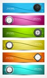 Set of six colorful presentation headers with timers watch white