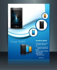 Brochure presentation reflection template mobile phone blue colo