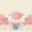 Vintage background with roses. Greeting card