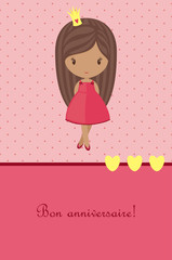Princess pink birthday card