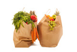 Shopping bags vegetables and fruit
