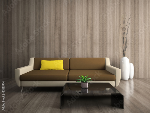 Modern interior with yellow pillow