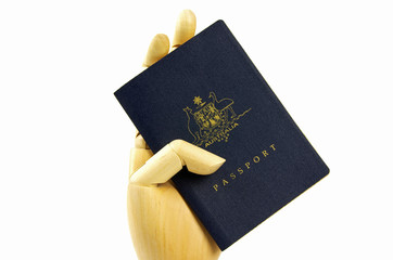 australian passport and hand