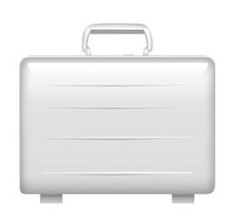 Silver metal briefcase. Vector