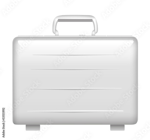 Silver metal briefcase. Vector