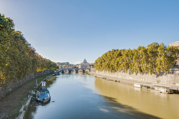The Tiber river, passing through Rome.
