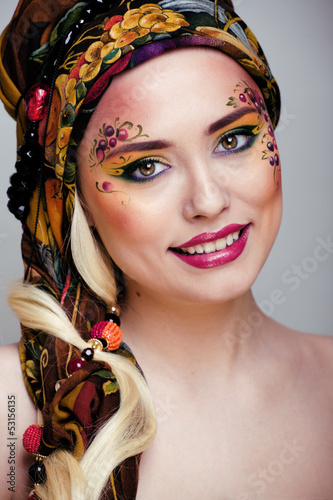 portrait of contemporary noblewoman with face art creative