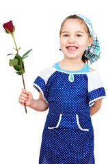 Mädchen mir roter Rose als und Putzkleidung