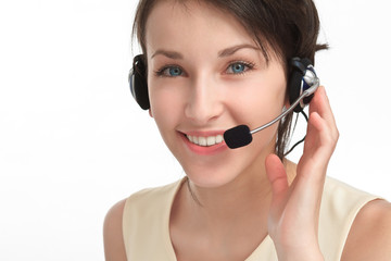 woman operator with headset - microphone and headphones