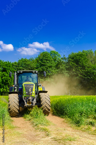 canvas print picture Tractor with baler