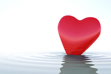 Zen red heart on calm water