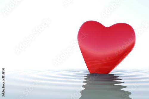 Zen red heart on calm water - 53158191