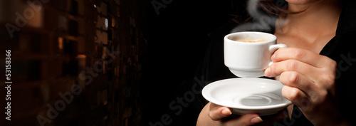Foto op Canvas Koffie Cup of coffee on black