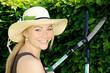Junge Frau im Garten schneidet Hecke mit Heckenschere