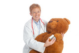 female pediatrician with teddy bear
