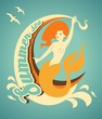 Mermaid with banner