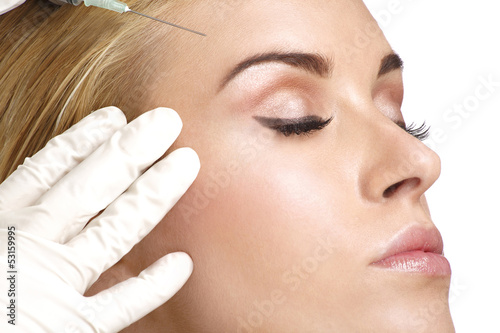 beauty woman close up injecting cosmetic treatment