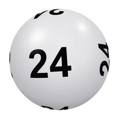 Loto, boule blanche numéro 24