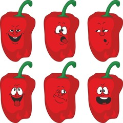 Emotion cartoon red pepper vegetables set 013