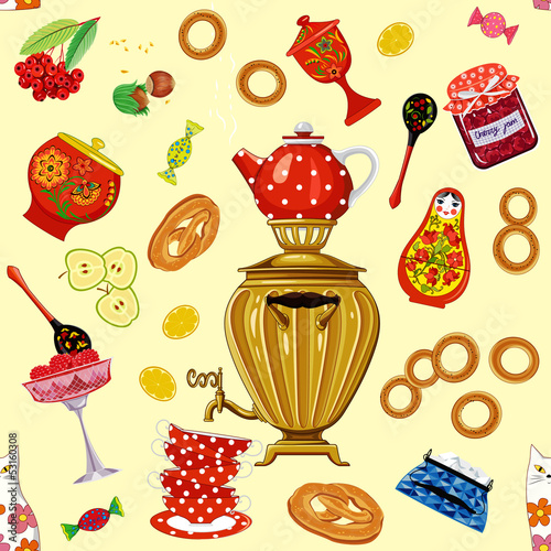 Seamless pattern with tea set in the russian style