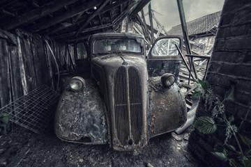 hidden old classic car