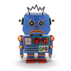 Sad vintage robot over white background
