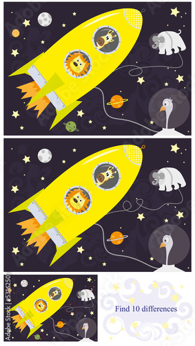 Find 10 differences  /solution/ animals in Space