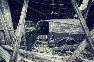 abandoned vintage van