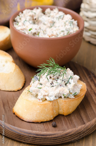 pate of smoked fish with sour cream and dill on toast
