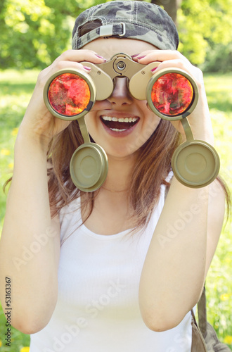 woman with  binoculars