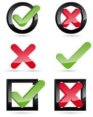 3D Keuz Haken Icons Set