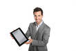Smiling businessman presenting website on tablet