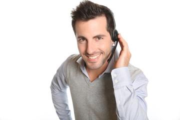 Customer service representative talking on phone