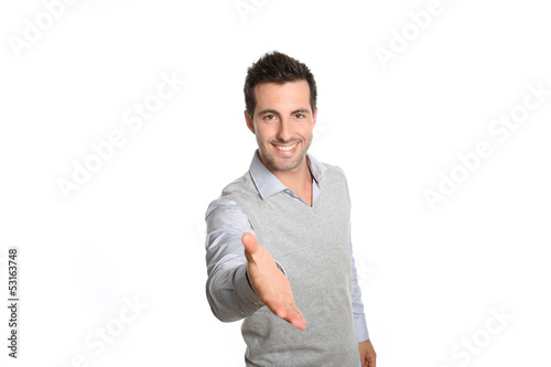 Closeup of man giving hand for handshake