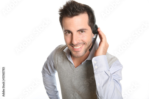 Customer service representative talking on phone