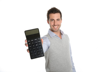 Cheerful guy showing good figures on calculator