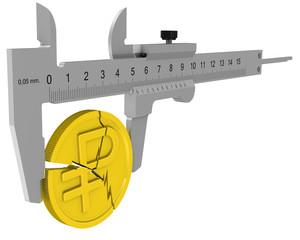 Штангенциркуль измеряет монету российского рубля с трещинами