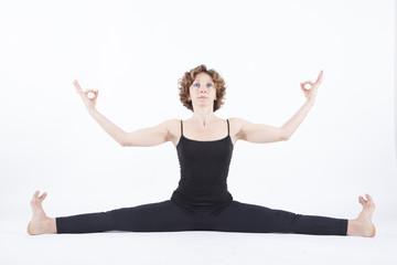 yoga posture deep straddle split front view