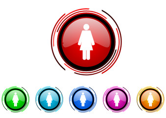 woman vector glossy web icon set