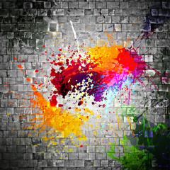 ink splatter on stone wall © Shutter81