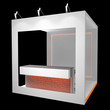 white booth with orange neon light
