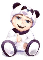 boy dressed as  panda