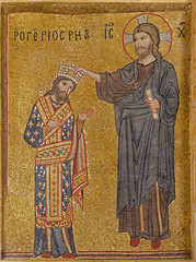 Palermo - Mosaic of king as with Christ crowned - La Martorana