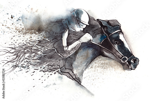 Fotobehang Paardensport horse racing