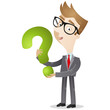 Businessman, holding question mark, FAQ