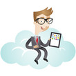 Businessman, cloud computing, sitting, tablet