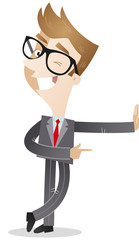 Businessman, leaning against wall, winking, pointing