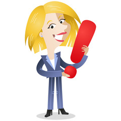 Businesswoman, exclamation point, letter, FAQ