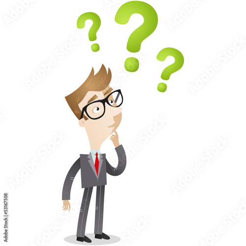 Businessman, question marks, speculating, FAQ