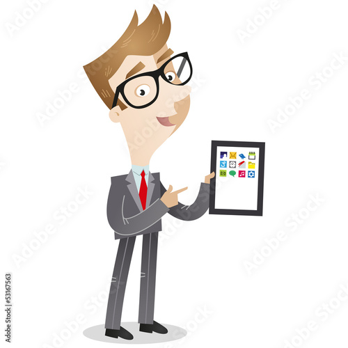 Businessman, tablet computer, pointing, explaining